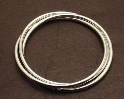 Silver  three fold bangle three string silver bangle