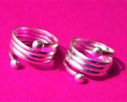 Silver toe ring 3 fold ring plane chandi ka bichhiya chhalla type