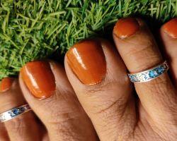 Silver toe ring blue meenakari bichhiya  padma
