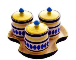 Ceramic pickle jaar set of 3 with tray
