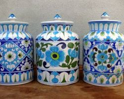 Hand painted Blue pottery jaar set of 2, 1kg capacity