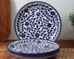Ceramic plate blue pottery plate set of 6 Royal