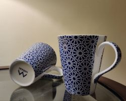 Coffee cup ceramic blue pottery cup set of 2