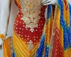 Party wear bandhni suit heavy work bandhej suit material 3 color