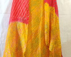 Pure silk bandhej suit  yellow red combination