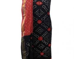 Cotton bandhej suit material 3 piece bandhani suit black and red
