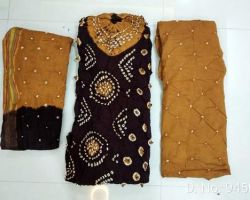 Cotton bandhej suit material 3 piece almond and black colour