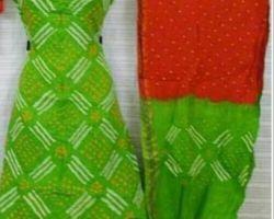 Cotton bandhani suit material parrot red color