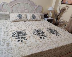 Bedsheet block print  cream colour double bed dharohar