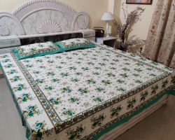 Bedsheet double bed  cotton sanganeri bedsheet sadabahar green floral