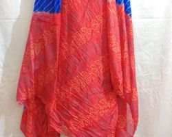 Bandhej suit material  in silk  3 piece red and blue combination
