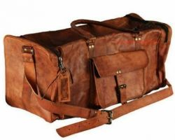 Camel leather duffel bag pure leather bag