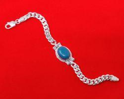 Silver bracelet with firoja stone