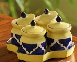 Ceramic pickle jar set of 4 with tray blue yellow