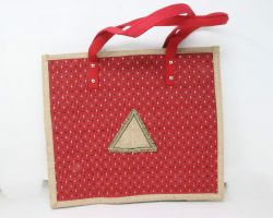 Handmade Jute bag for marketing and moving red colour