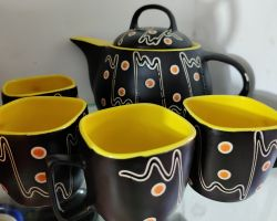 Tea cup kettle set black ceramic