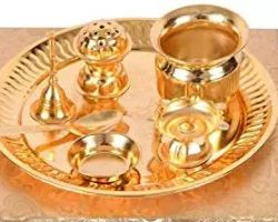 Brass complete Pooja thali 7 piece