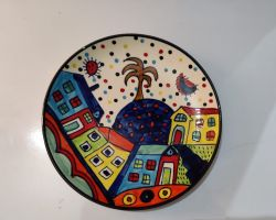 Wall plate blue pottery beautiful handcrafted hand painted wall plate sky