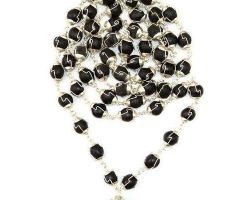 Shaligram mala with silver capping 108 beads