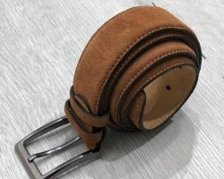 Camel leather belt brono for men