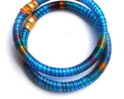 Handmade Silk thread bangles blue firozi 4 piece