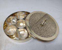 Brass masala box meenakari  peetal ki masaldani