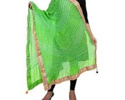 Bandhej dupatta with  embroidery border parrot colour