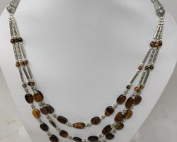 Necklace tiger eye stone necklace 3 line