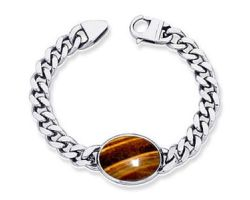 Tiger eye bracelet with silver chain