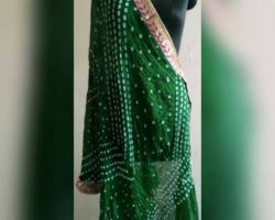 Bandhej dupatta with embroidery border dark green bandhani dupatta