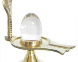 Sphatik Shiv lingam crystal lingam 1.25 inches with stand