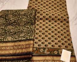 Block print cotton dress material 3 piece
