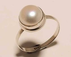 Silver pearl ring real pearl ring in silver