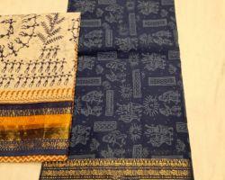 Block print cotton ladies suit material 3 piece code 5