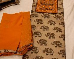 Cotton elephant block print dress material 3 piece