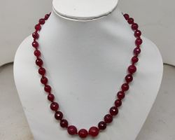 Necklace red jade stone natural red stone beaded necklace