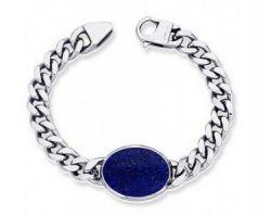 Lapis lazuli silver bracelet natural lapis lazuli bracelet with silver chain