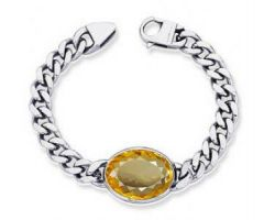 Yellow suphhire silver bracelet natural yellow suphhire bracelet  pure silver