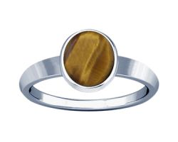 Tiger eye silver ring natural tiger eye stone with ring