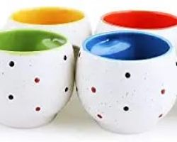 Tea cup ceramic tea mug  tea cup dot design set of 6
