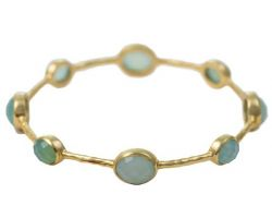 Natural stone bangle chalcedony stone bangle in pure silver gold polished