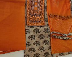 Khadi silk ladies suit material 3 piece dress material
