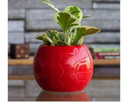 Ceramic pot for indoor plant football shape red colour ceramic pot