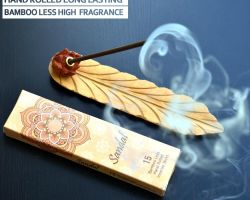 Bambooless sandal sticks with wooden leaf incense holder