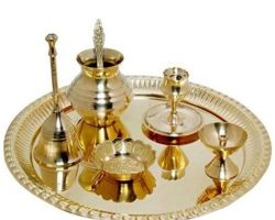 Pooja thali set complete Pooja thali set brass 7 piece