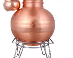 Copper matka copper water pot with copper loti and iron stand