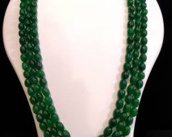 Natural emerald 3 layer necklace