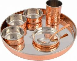 Copper steel dinner set 7 piece