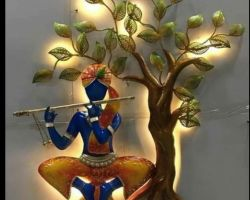 Metal krishna statue with tree wall with decor 3d light 24×36 inches