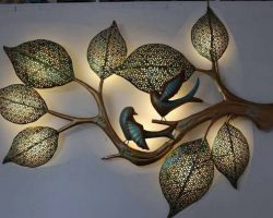 Metal wall decor panel with 3D light 20×36 inches home decor item